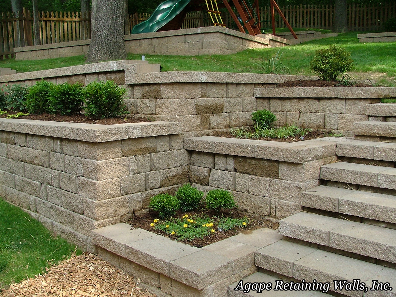 Landscaping With Walls : Agape retaining walls inc terrace photo album