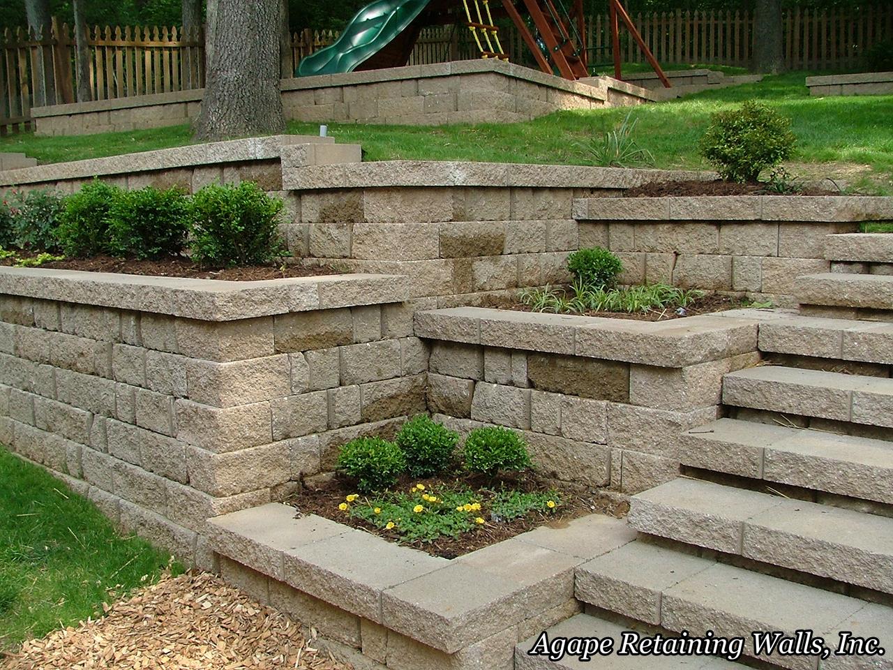 Agape retaining walls inc terrace photo album 3 for Landscaping garden walls