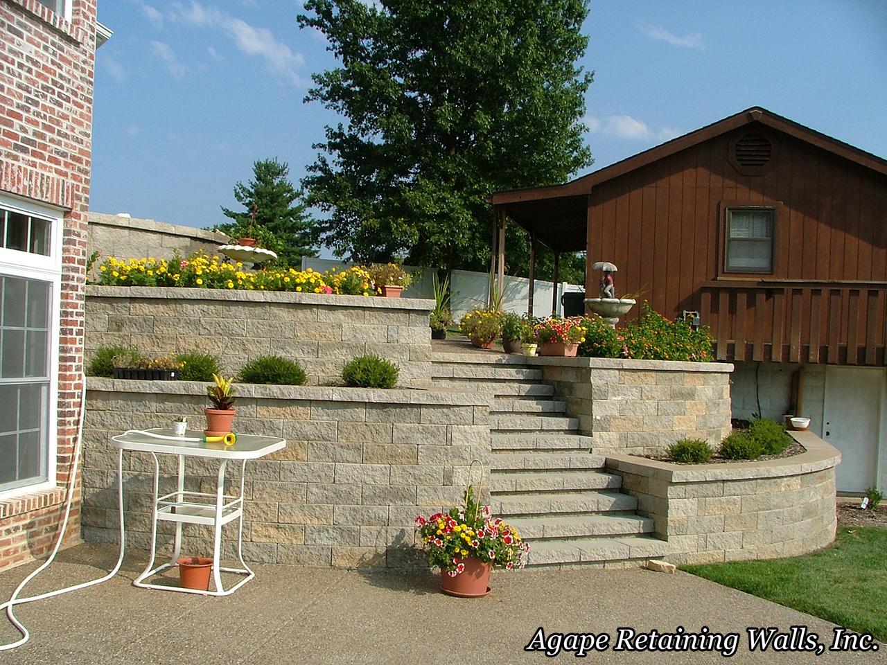 Agape retaining walls inc terrace photo album 1 for Terrace landscape design