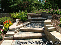 versa-lok steps with bull nosed Belgard pavers