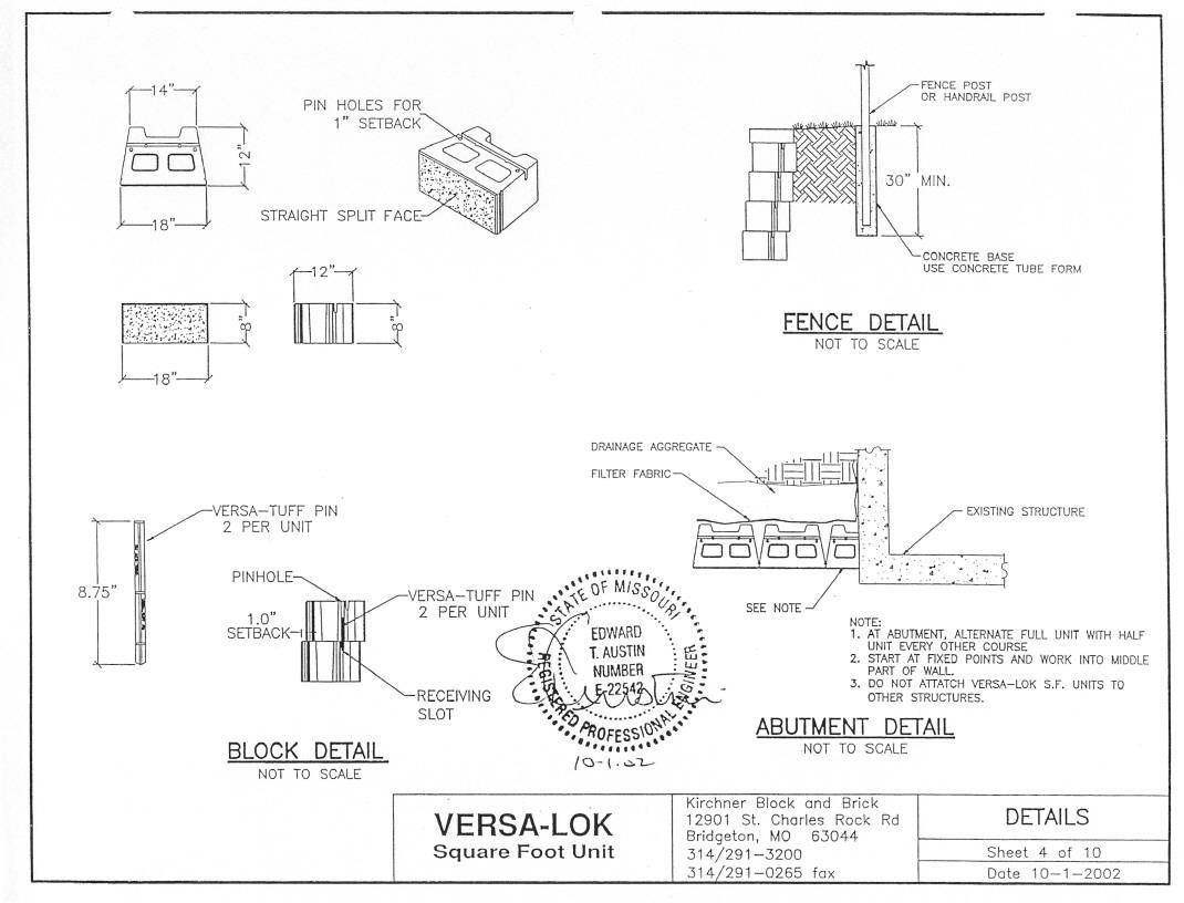 St Louis County Versa Lok Square Foot Retaining Wall